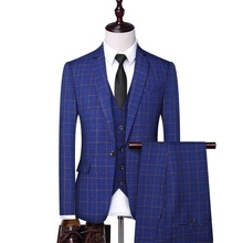 3 piece suits menBlue checked suit, gentleman suit, men's suit, black checked suit, swallow tail suit, men's checked suit цена