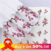LCJ 1 Sheets Nail Water Decals Plum Blossom Flower Pattern Tranfer Sticker Flamingo Fruit Nail Art Decoration