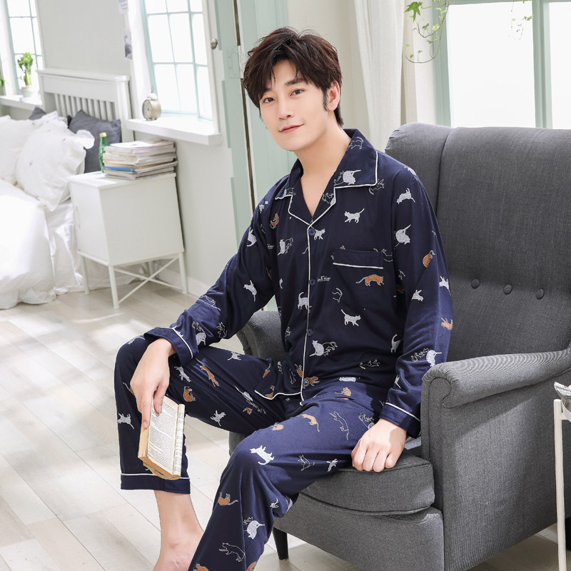 Sleepwear Men Pajamas Male Casual-Sets 100%Cotton For Hombre Plus-Size