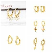 CANNER Plata de Ley 925 auténtica pendientes para las mujeres de francés Cruz pendientes de relámpago aros tres Zircon joyas de diamantes