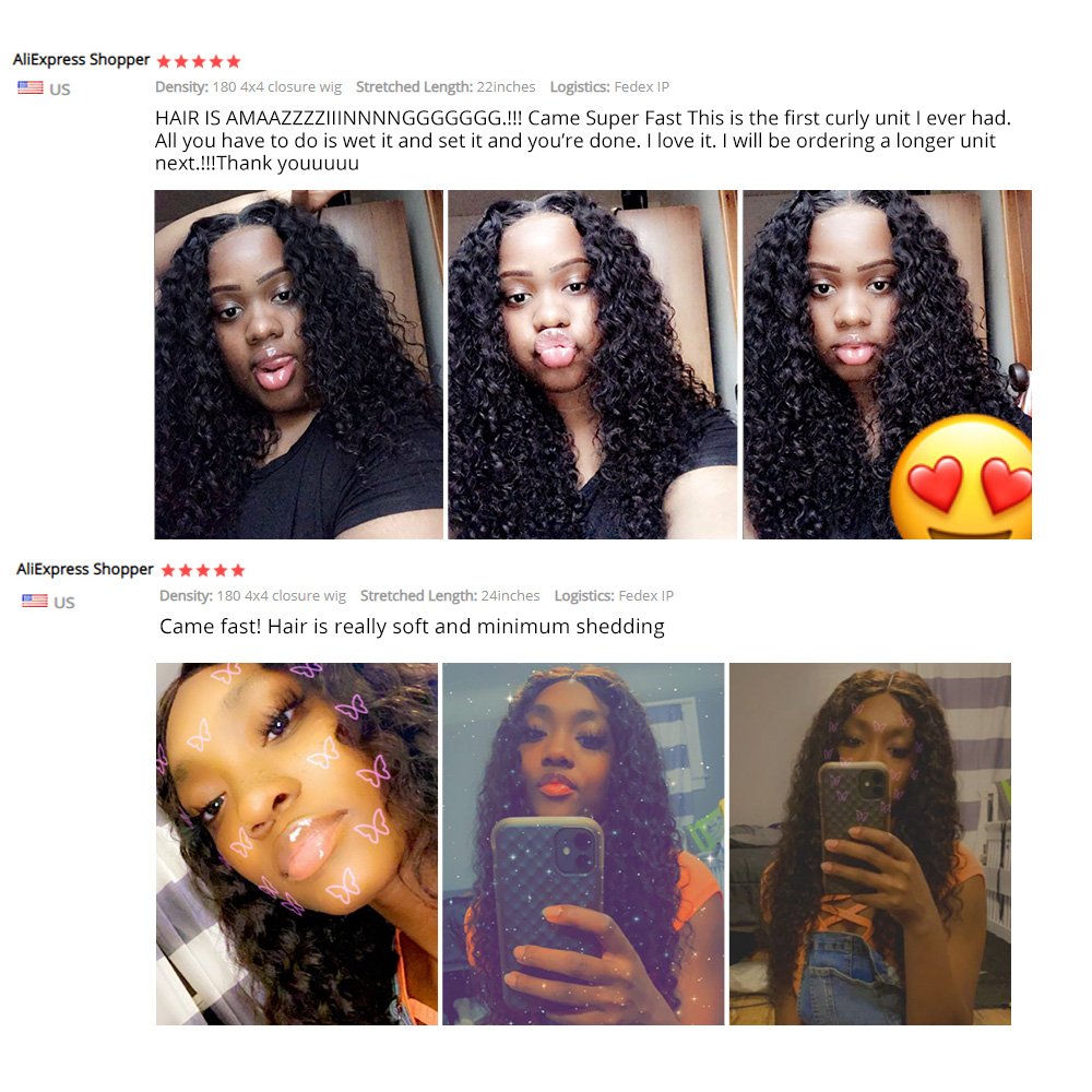 4X4 Lace Closure Wig Deep Wave Wig  Wigs Pre-Plucked With Baby Hair Natural Color  Lace Wig  Hair 5