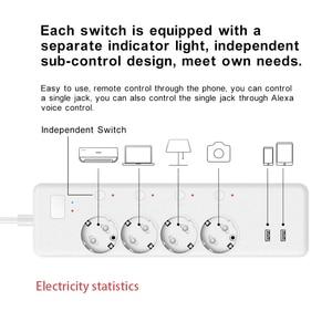 Image 3 - WiFi Smart Power Strip Intelligent EU Plug Electrical USB Sockets Wireless Timer Remote Independent Control by Google Home Alexa