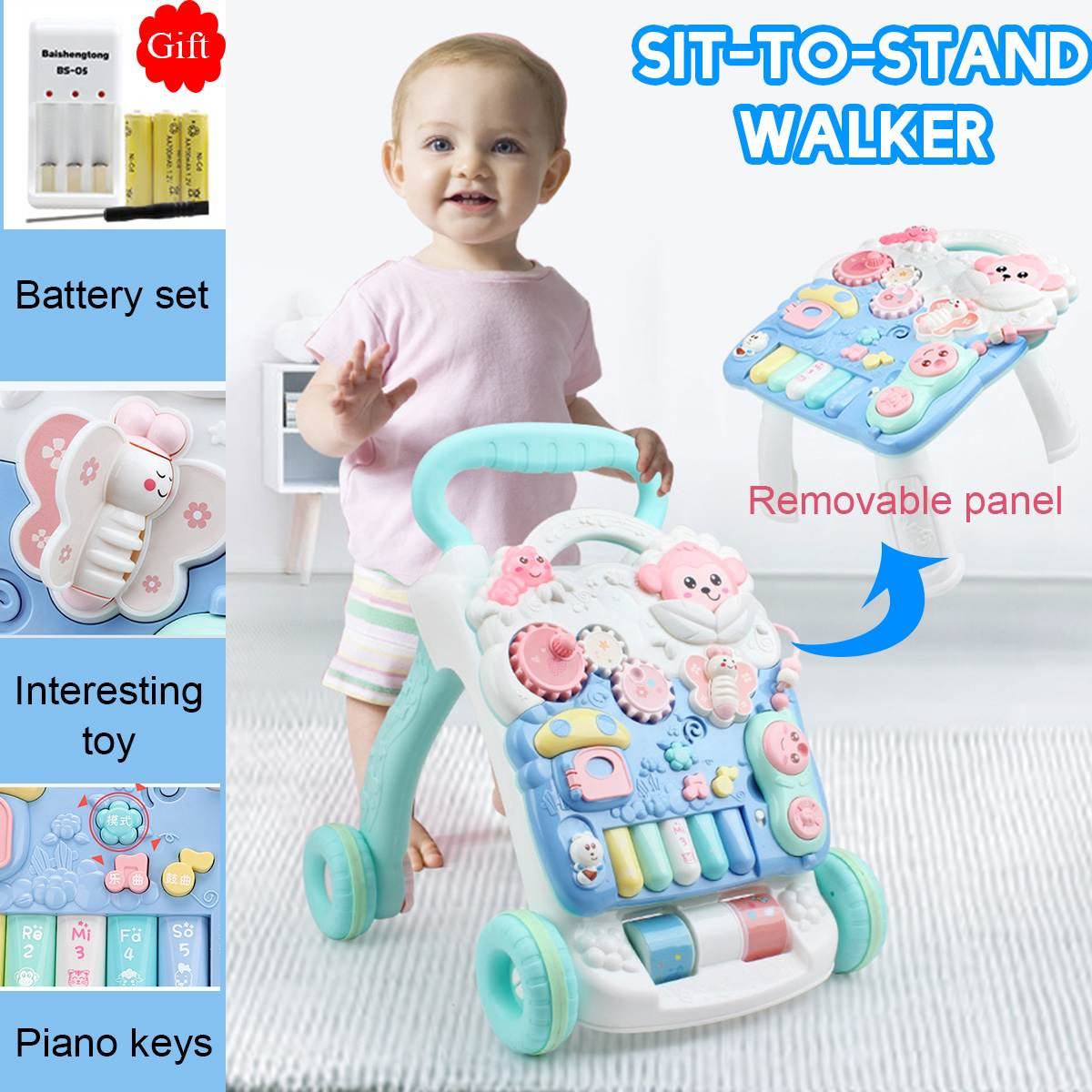 Multifuctional Baby Walker Toys with Weight Water Box for Anti-rollover Toddler Trolley Sit-to-Stand Musical Walker RU Free ship