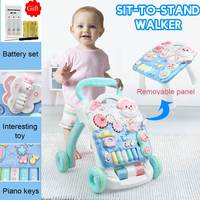 Multifuctional Baby Walker Toys with Weight Water Box for Anti rollover Toddler Trolley Sit to Stand Musical Walker RU Free ship