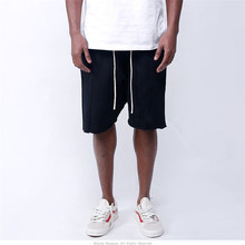 Mens Knee-length Cotton Shorts with Elastic Drawstring Waist