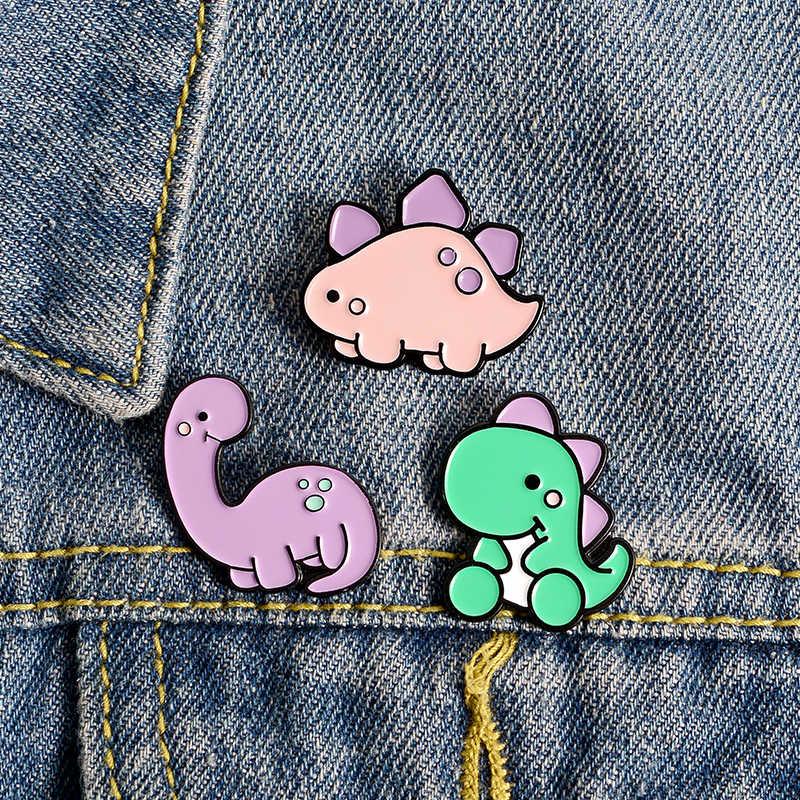Pinos de esmalte de dinossauros kawaii, verde, roxo, rosa, de desenho de animal, broche de bagagens, roupas, amigos