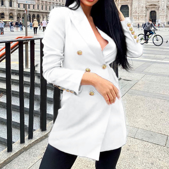 2020 Jacket Coat Elegant Women Coat Fashion Mid-length Long-sleeved Double-breasted Jacket With Button Office Women Clothes