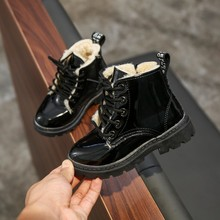 Kids Plush Ankle Boots Winter Warm Patent Leather Candy Color Fashion Soft Boys Girls Ankle Boot Autumn Waterproof Children Shoe