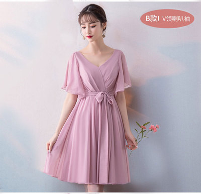 Pink Bridesmaid Dresses Short Chiffon Woman Dresses For Party And Wedding Guest Dress Sexy Prom Azul Royal Short Frocks Vestido