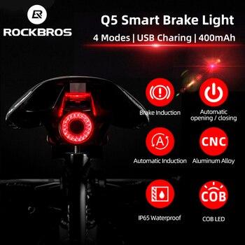 Rockbros bicicleta inteligente luz de detecção freio automático ipx6 à prova dwaterproof água led carregamento ciclismo luz traseira da bicicleta acessórios q5 1