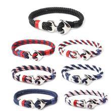 homod new fashion anchor beads leather bracelets 2019 New Fashion Men Bracelets  Women Bracelets  Metal Hooks Bracelets For Men  Navy Style Vintage Anchor Bracelet