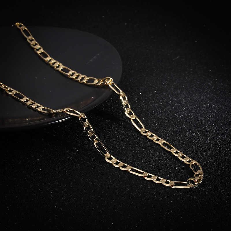 Punk Hip Hop metalowy złoty kolor naszyjnik łańcuch prosta moda Rock Rap biżuteria para klub nocny prezenty mężczyźni kobiety prezenty Party