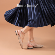 BeauToday Sandals Women Genuine Cow Leather Pointed Toe Ankle Buckle Strap Low Heel Slingback Ladies Summer Shoes Handmade 32202 2020 new superstar genuine leather pointed toe ankle strap square heel women sandals high heels slingback summer party shoes