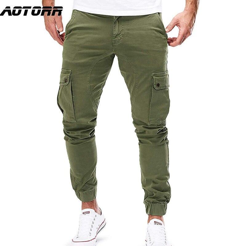 Брюки-карго мужские в стиле милитари, повседневные узкие штаны, джоггеры, спортивная одежда со множеством карманов, мужские тактические брю...
