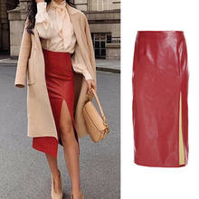 Women Sexy Skirt Spring Autumn Red Elegant Split Hem Front Belted Leather Look Long Skirt Office Lady Solid Workwear Maxi Skirts(China)