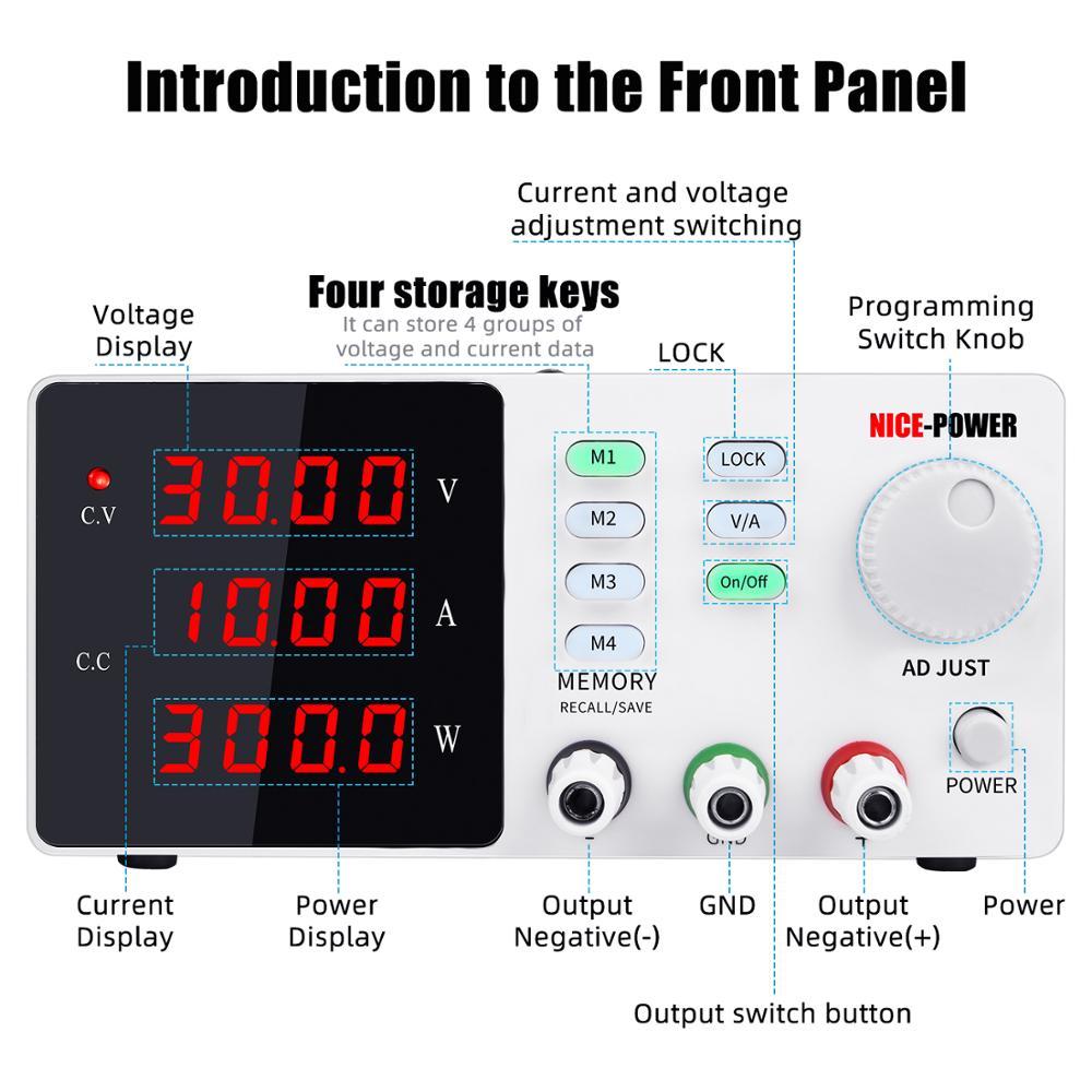 Programmable laboratory power feeding 30v 10a Lab Power supply unit for pc voltage regulator Precise adjustment Source 120V 3A-1