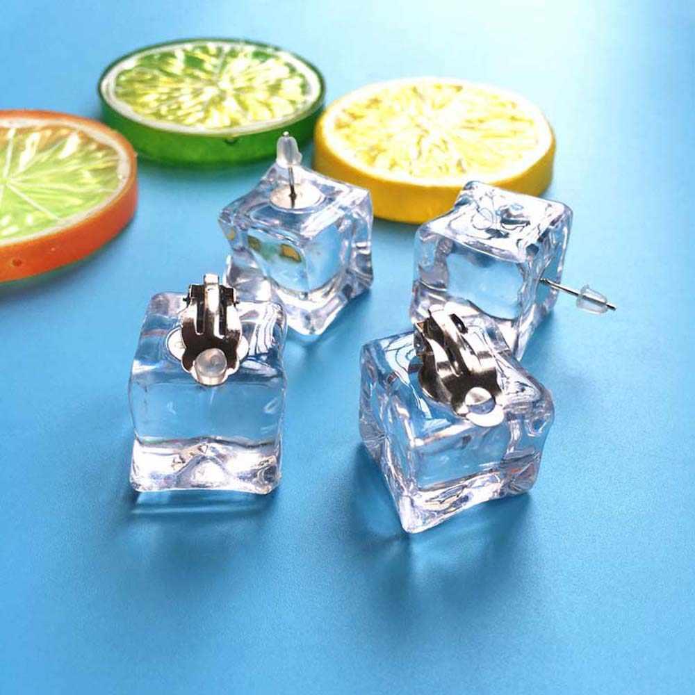 الإبداعية اليدوية ثلاثية الأبعاد مكعبات الثلج قرط الاذن المرصع s بسيط شفاف سوبر محبوب قرط الاذن المرصع للفتيات النساء