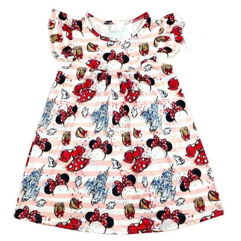 Эксклюзивное платье для маленьких девочек платье с рисунком замка и Микки Мауса праздничная одежда для малышей