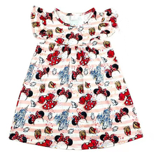 Baby Girls  Boutique Dress Cartoon Castle And Mickey Bow Pattern Dress Toddlers V day Party Clothes