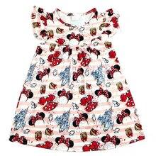 Bebek kız çocuğu butik elbise karikatür kale ve Mickey yay desen elbise Toddlers v gün parti giysileri