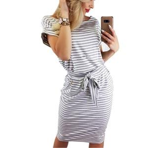 Image 4 - 2019 frauen Casual Striped kurzarm frauen Hemd Kleid Rot Grau T Hemd Kleid Streetwear Sommer Kleid