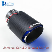 BAFIRE fibra de carbono Universal coche LED de escape silenciador punta tubo rojo/azul luz Flaming coche modificado tubo de escape cola de la garganta(China)