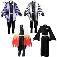 Anime demônio slayer cosplay traje kimetsu não yaiba rengoku kyoujurou quimono tokitou muichirou iguro obanai personalizado tamancos perucas