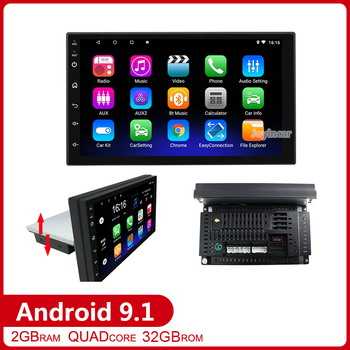 7 1 Din Android 9.1 Car Radio Multimedia Video Player Up Down Adjustable Screen bluetooth Wifi 1din GPS Navigation Autoradio image