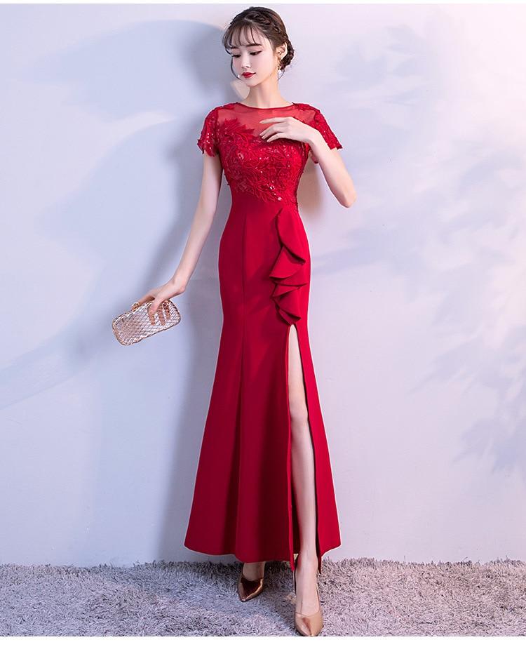 Long Dress For Wedding Party For Woman Red Bridesmaid Dress Sister Embroidery A-Line Vestido De Festa Longo Sexy Dress Prom Club