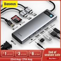 Baseus USB C HUB USB a HDMI compatible con USB 3,0 RJ45 Carder lector OTG adaptador USB divisor para MacBook Pro aire HUB
