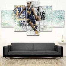 Стивен Карри плакат Модульная картина холст декоративная живопись HD Печать Баскетбол Детская комната 5 шт. Холст Искусство поп Настенный декор