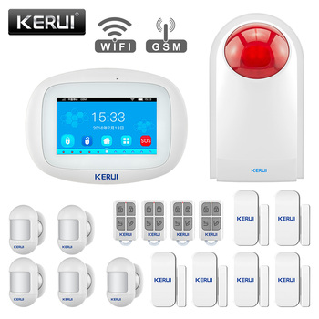 KERUI K52 WiFi GSM Alarm System 4.3 inch Touch Screen Panel APP Control PIR Sensor Wireless Siren Door Sensor Home Security Set 1