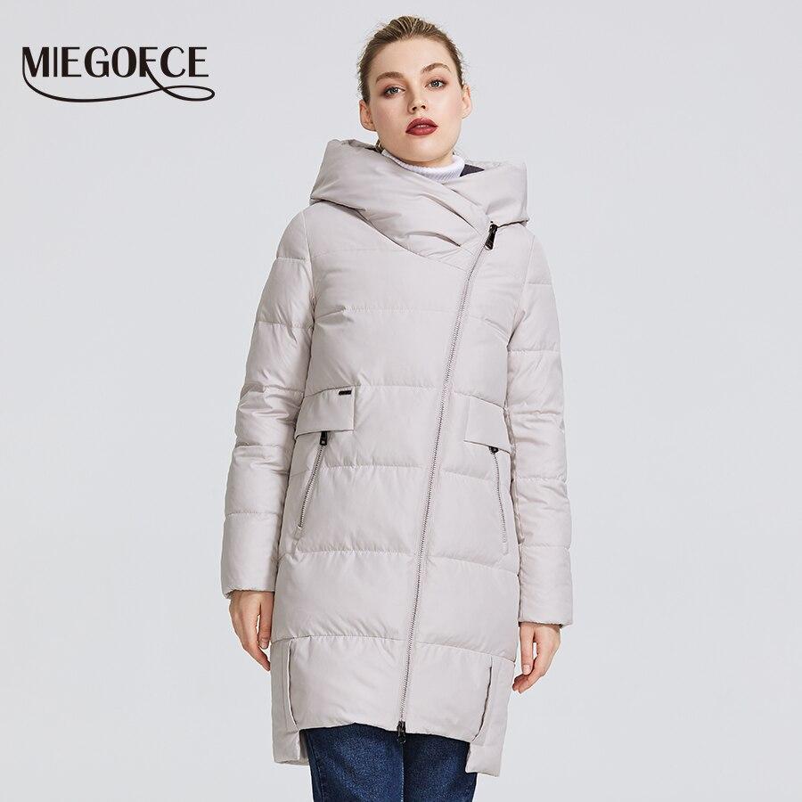 MIEGOFCE 2019 kolekcja zimowa damska ciepła kurtka wykonane z prawdziwego Bio Parka kobiety wiatroszczelna Stand Up kołnierz z kapturem płaszcz w Parki od Odzież damska na  Grupa 1