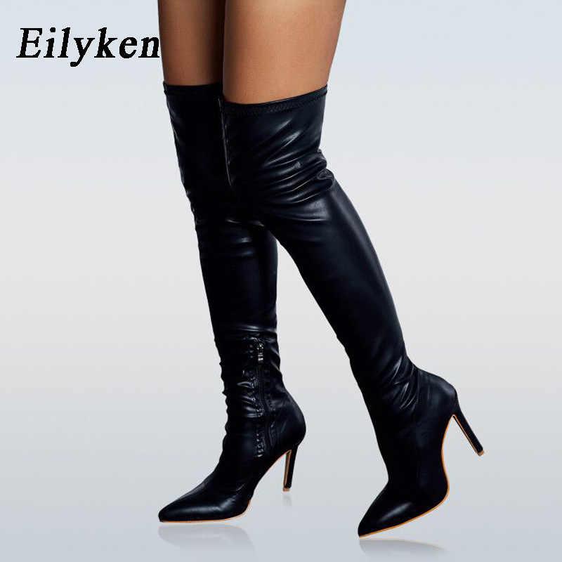Eilyken Thời Trang Mùa Đông Trên Đầu Gối Giày Bốt Nữ Da PU Mũi Nhọn Khóa Kéo Nữ Hộp Đêm Gợi Cảm Giày Cao Gót Tất Giày size 42