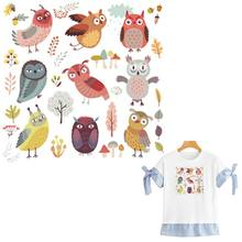Cartoon Owls Patch Set A-Level Washable Garment Diy Thermal Transfer Stripe Clothes Stickers Little Iron On Baby Shirt