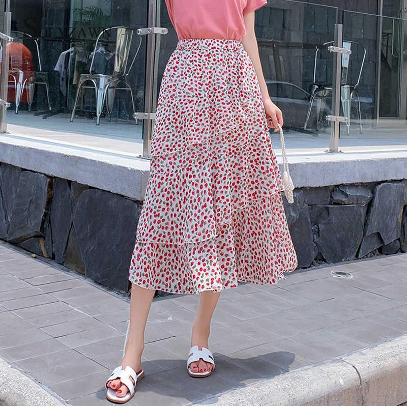 Корейские Многослойные тюлевые юбки с цветочным принтом Милые шифоновые милые элегантные плиссированные юбки-пачки средней длины с высокой талией и оборками