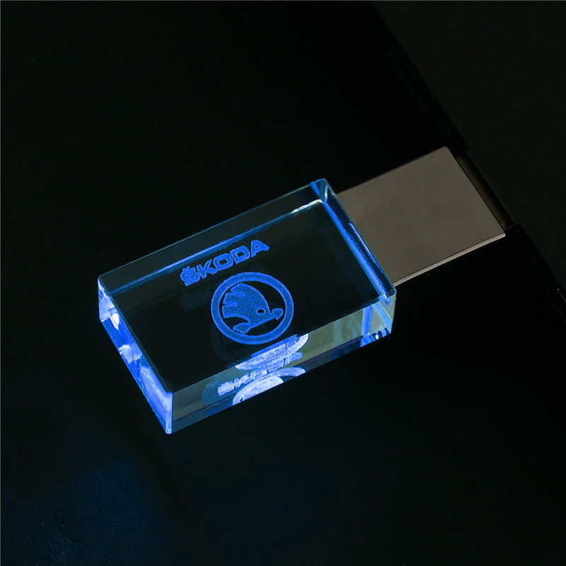 Skoda Kristal + Metalen Usb Flash Drive Pen Drive 4Gb 8Gb 16Gb Pendrive 32Gb 64Gb 128Gb Stick Memory Stick U Schijf 1
