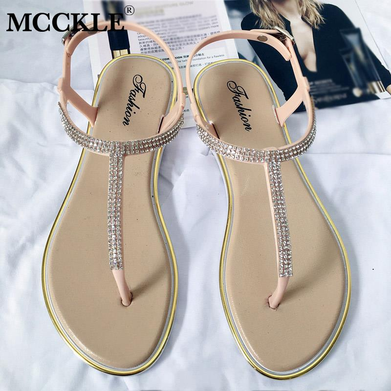 MCCKLE New Women's Flat Sandals Bling Clip T-type Fashion Casual Shoes Women Buckle Beach Ladies Thong Shoe Female Summer 2020