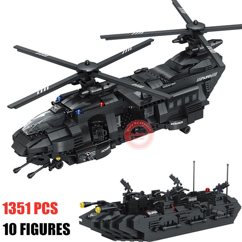 SWAT Team 1351 шт, подходят для городской полиции, строительные блоки, кирпичи, SWAT, полицейский вертолет, детский подарок, игрушка