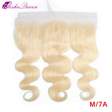Aisha Queen 613 Blonde Brazilian Body Wave Lace Frontal Closure Medium Ratio 13*4 Non-Remy Human Hair Closure(China)