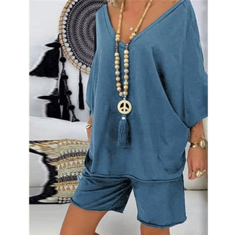 Women Casual Suit Fashion Pullover Summer Large Size New  Shirt Two-piece Suit Tops Shorts Solid V Neck Plus Size Suit