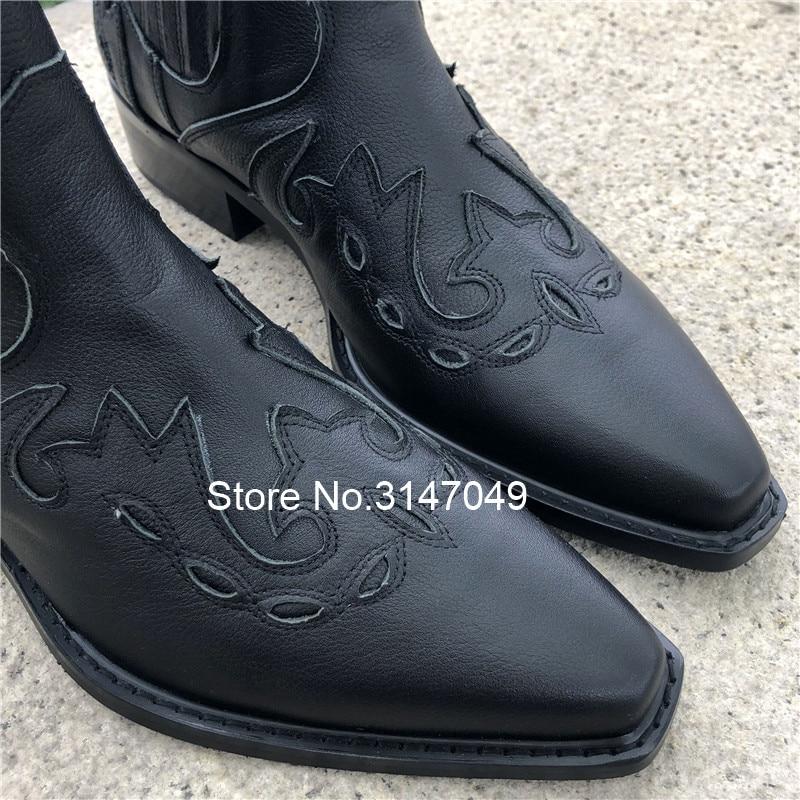 Прошитая Мужская безопасная обувь без застежки; рабочие ботинки из натуральной кожи; мужские ковбойские ботинки с острым носком; модная мужская зимняя обувь - 4