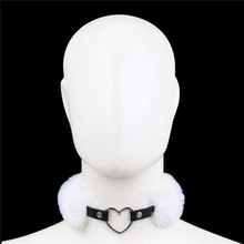 Sexy Heart Metal Lock Neck Collar Women Bondage Plush Strap Sex Toys Punk BDSM Couple Game SM Erotic Accessories