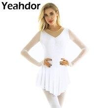 Kadınlar yetişkinler yuvarlak boyun uzun kollu parlak Rhinestones şekil buz rulosu paten elbise parmak ucu bale dans Leotard elbise