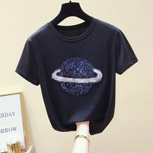 Diamonds white t shirt women tshirt plus size summer Tassel top 2019 camiseta mujer streetwear t-shirt tee femme