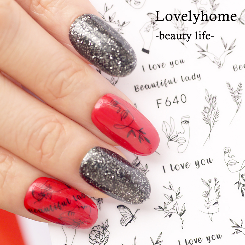 1Pcs 3D <font><b>Nail</b></font> <font><b>Sticker</b></font> Self-adhesive Beautiful Lady Elegant <font><b>Sexy</b></font> Face Leaf Butterfly Design For DIY Manicure Decorations image