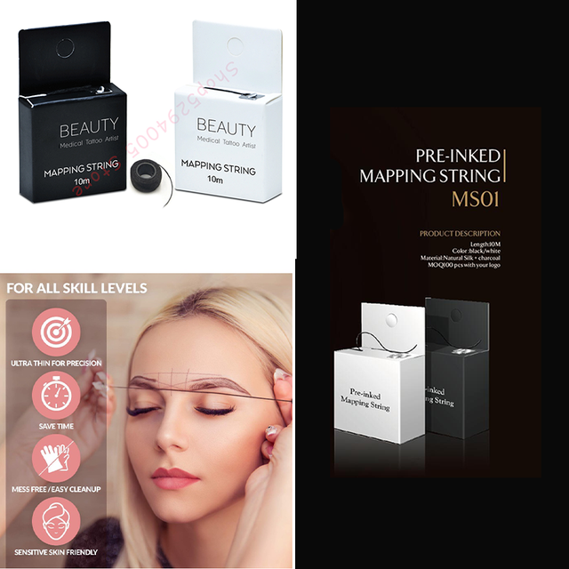 Pre Ink bow Mapping Thread for Microblading Eyebrow 10m Ultra-ThinMess-Free Thread Spot-on Brow Map For Permanent Makeup