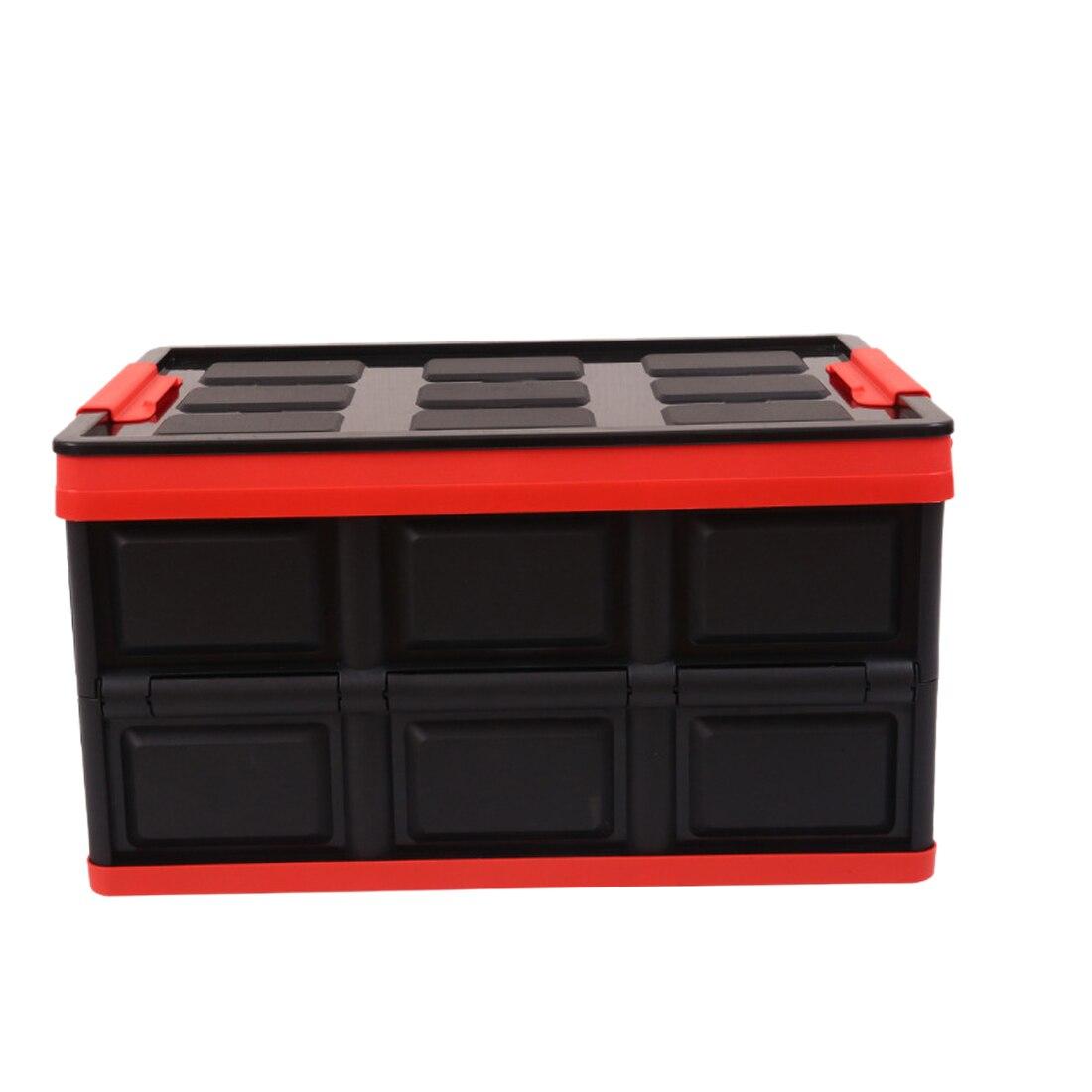 Hipsteen recipiente para armazenamento multifuncional, 55l, dobrável, organizador de caminhão, recipientes de cozinha, decoração para casa, preto e vermelho