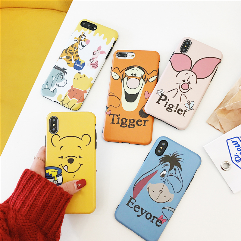 Cute Anime Eeyore Tigger Piglet Bear Winnie Case for iPhone 8 7 6 6S Plus Xs Max Xr X Lovely Matte imd soft silicone cover capa winnie the pooh iphone case