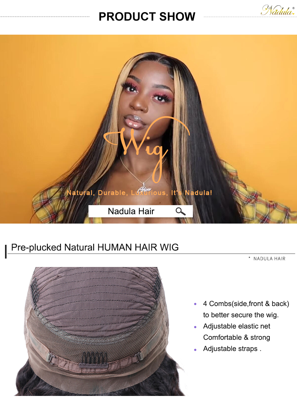Hc3651c1a91144b35bfa46aee1a3a192bA Nadula Wig 13*4 Lace Front Wigs For Women Ombre Color With Highlight Human Hair Wig Brazilian Straight Lace Frontal Wigs